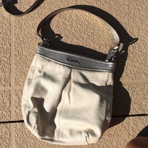 Coach Bags - Cream & Silver Leather Shoulder/Crossbody Coach